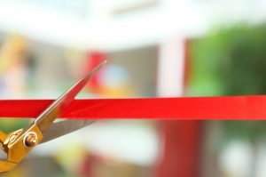 Grand opening cutting ribbon