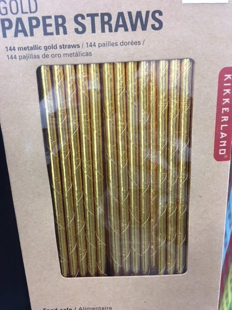 Gold party straws