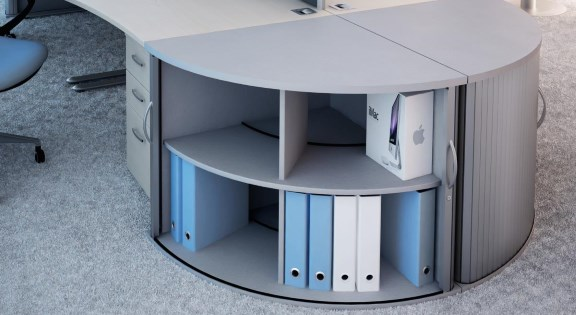 Curved office storage