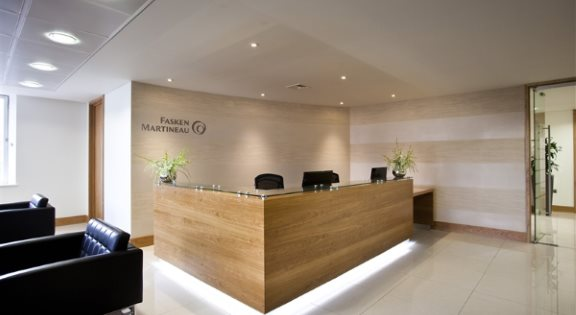 reception desk with lighting