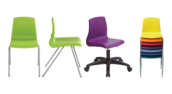 Colourful classroom chairs for school and college