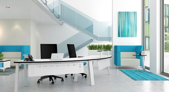 Blue contemporary office interior