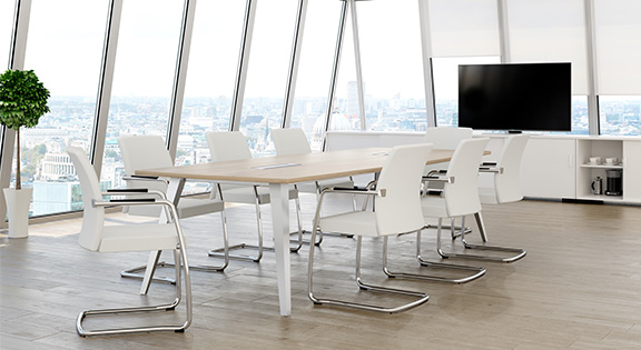 light meeting room furniture white back chairs