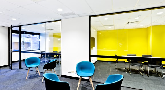 Glass walled meeting room