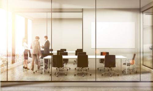 glass partition in boardroom