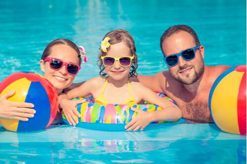 family holiday photo swimming
